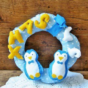 Karácsonyi pingvin ajtódísz