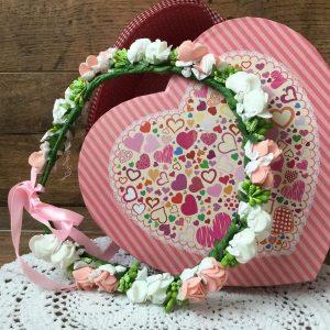 Apróvirágos hajkoszorú rózsaszín-fehér