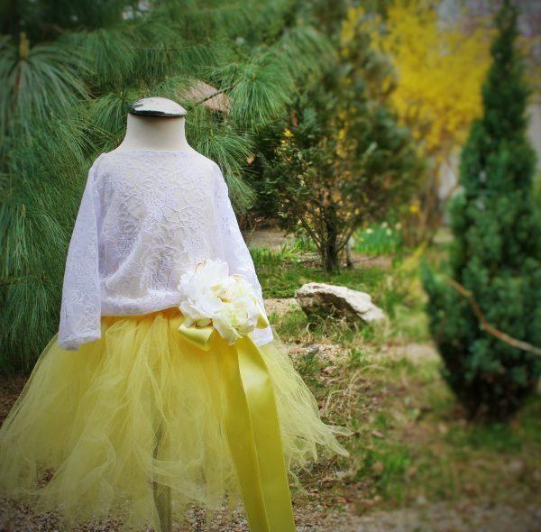 Tutu csipke blúzzal sárga