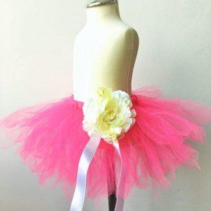Tutu szoknya virág karkötővel neon rózsaszín