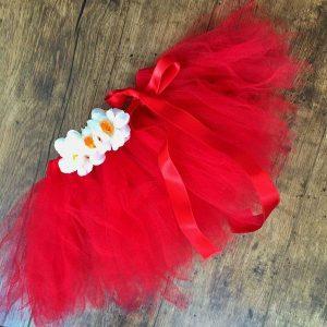 Tutu szoknya virággal piros