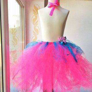Tutu szoknya virág karkötővel neon rózsaszín türkiz