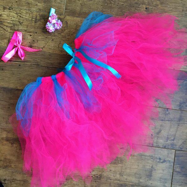 6376ee5d27 Tütü szoknya virág karkötővel neon rózsaszín türkiz - Nobby M Art