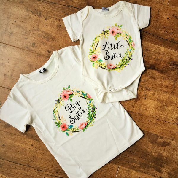 Lány testvér pólók fehér