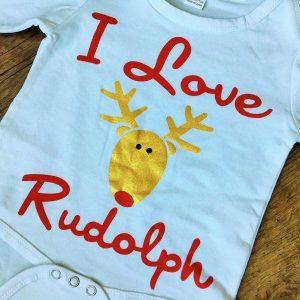 I love Rudolph szett lábszárvédővel fehér piros