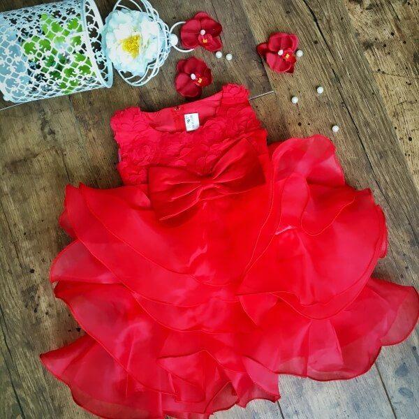 Abigél alkalmi kislány ruha piros