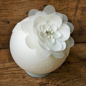Chiffon virágos fejpánt fehér
