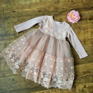 Johanna alkalmi kislány ruha mályva színű