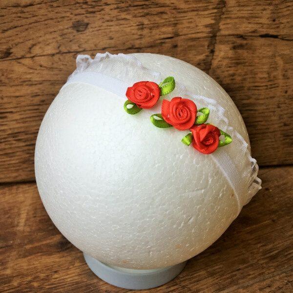 Organza szalagos fejpánt virággal piros fehér