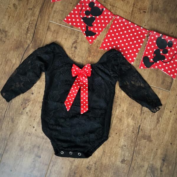 Hosszú ujjú csipke body fekete Minnie fotózáshoz - Nobby M Art 9d007d5110