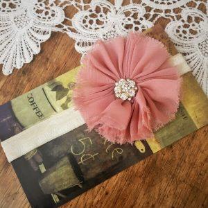 Chiffon virágos strasszos fejpánt színes