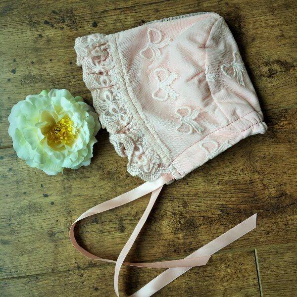 rózsaszín vintage babasapka bélelt