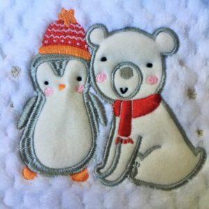 hímzett babatakaró pingvin jegesmedve