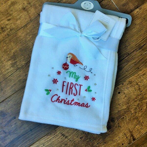 hímzett babatakaró first christmas